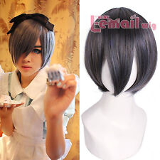 USA Ship Black Butler Kuroshitsuji Ciel Phantomhive Gray Short Hair Cosplay Wig