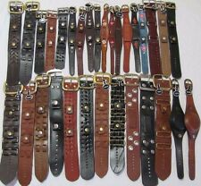 WHOLESALE MIXED LOT 40+ PIECES GENUINE LEATHER DESIGNER WATCH BANDS STRAPS NEW!