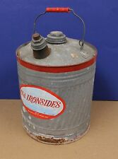 Vintage Old Ironsides 5 Gallon Metal Galvanized Can New Delphos Ohio with label