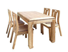 Oriental Light Wood Dining Table 4 Chairs Set cs1555