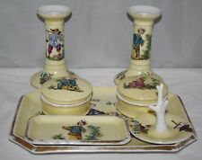 Vintage Porcelain - Complete 7 piece Dressing Table Set - Chinese Figural Scenes