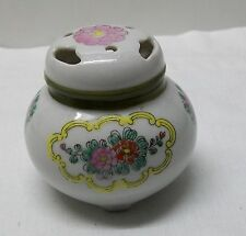 China Footed Jar Incense with Pink Red Flowers Lid with Cut Out Holes Vintage