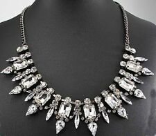Pendant Glass Crystal Bib Statement charm chunky White collar Chain Necklace
