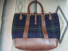New Polo Ralph Lauren Black Watch Plaid Wool Leather Tote Bag Carry All Sold Out