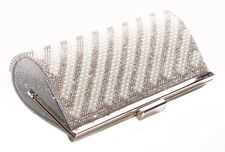 Stardust Unblemished Pearl Stripe & Diamante 23x10cm Chrome Clutch Bag(Cl36)