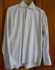 Daniel Hechter Long-Sleeved Pinstripe Shirt Double Cuff Size 14.5/37 100% Cotton