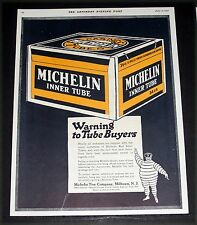 1920 OLD MAGAZINE PRINT AD, MICHELIN, RED INNER TUBES, MOTORIST WARNING, ART!