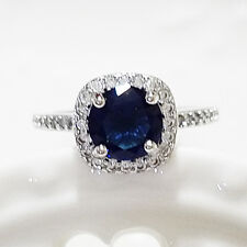 2.5 Ct Round Solitaire Blue Sapphire Halo Ring Solid 925 Silver Size 5 A133