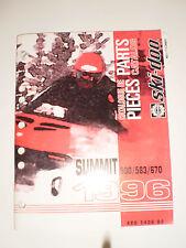 SKIDOO 1996 PARTS CATALOG  MANUAL  SUMMIT 500 / 583 /  670