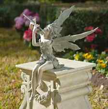 Fairy Garden Sculpture Sitting Romantic Figurine With Flute Enchanted Mythical