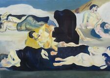 """Vintage French Oil Painting, """"La Nuit"""" (Night) Copy after Ferdinand Hodler, Nude"""