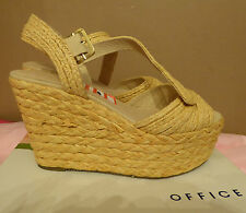 Office UK7 EU40 natural hessian wedge 'Front of the Queue' sandals - new in box
