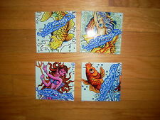 NEW Awesome ~ ED HARDY Signature Lot COLLECTIBLE ART TILE Graphic Coaster SET 4