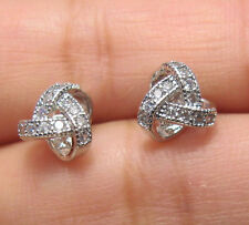 18K WHITE GOLD PLATED MICRO PAVE CZ SMALL KNOT STUD EARRINGS B13
