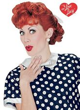 Womens Adult Deluxe I Love Lucy Lucille Ball Red Curly Wig Costume Accessory