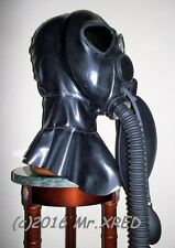 Fetish HEAVY RUBBER Latex HOOD Rebreather GAS MASK+GAG w PUMP+HOSE+3L BAG