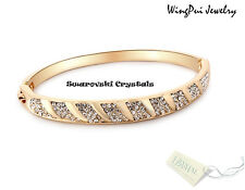 NEW Made with Swarovski Round Crystal 18K Yellow Gold Plated Bracelet Jewelry