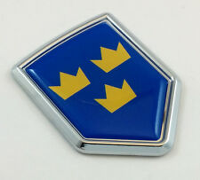 Swedish 3 three Crown Flag Car Chrome  Emblem Decal Sticker badge crest