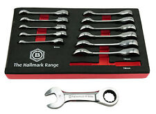 BRITOOL HALLMARK BHSRWSET12 12 PIECE STUBBY RATCHET SPANNER WRENCH SET 8-19MM