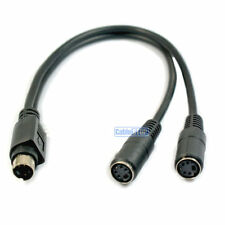 Short 25cm 1 to 2 Mini Din S-Video SVHS 4 Pin Y SPLITTER Cable Video Adapter