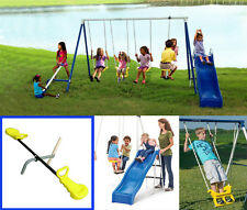 Swing Set Playground Metal Outdoor Play Slide Backyard Swingset Kids Fun Playset