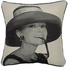 TAPESTRY COTTON VELVET MOVIE HOLLYWOOD LEGEND AUDREY HEPBURN CUSHION COVER 18""
