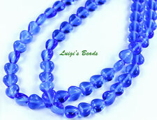 50 Sapphire Blue Czech Pressed Glass Heart Beads 6/6mm