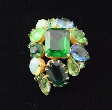 "Vintage Blue, Green, Opalescent Glass Rhinestone Pin Brooch 2 1/8"" x 1 1/2"""