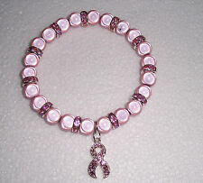 Rosa Miracle Pulsera de abalorios Con Cinta Rosa Encanto-Breast Cancer Awareness