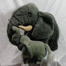 African Elephant Mother and Baby Plush Stuffed Animal Gray with Tusk Vintage 20""