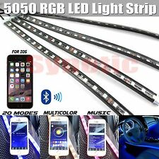 "4x 12"" RGB Multi Color LED Truck Car Interior Light Bar Bluetooth iPhone Remote"