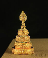 TIBETAN BUDDHA BUDDHISM ALTAR MUST: BLESSED GOLD GILT MANDALA SET SMALL SIZE !