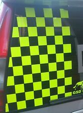 3 x SHEETS OF  FLUORESCENT CHEQUERED SQUARES VEHICLE STICKER DECALS   (s209)
