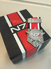 Mass Effect 1 2 3 4 N7 Elite Medal Badge Pin Pinny Silver Metal + Collector BOX