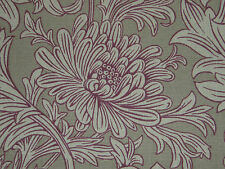 "WILLIAM MORRIS CURTAIN FABRIC  ""Chrysanthemum Toile"" 3.25 METRES WINE/LINEN"
