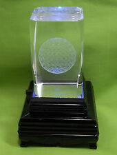 GOLF BALL LASER ETCHED GLASS FIGURINE W/LIGHT BOX