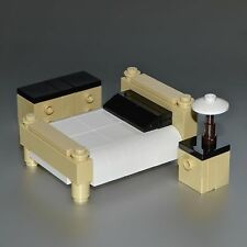 LEGO Furniture: Tan Bedroom Set - with Bed, Dresser, Nightstand & Lamp  [lots]