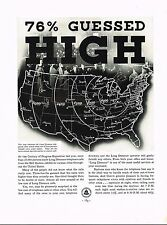 1934 BIG Vintage Bell Telephone Co. Long Distance Call Rates US Map Art Print Ad