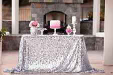 Silver Sequin Table Cloth Wedding Party Decor Kitchen Dinner Linens 50x72 Inch