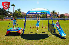 Kids Playgrond Swingset Outdoor Playset Trampoline Swing Slide Fun Children Gym