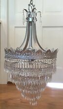 Antique Art Nouveau Deco Wedding Cake Crystal Chandelier Silver Ceiling Fixture