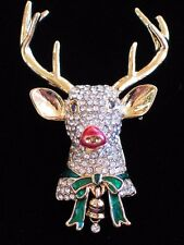 NIB NAPIER GOLD BELL ANTLERS RUDOLPH REINDEER HEAD PIN BROOCH JEWELRY 3D DANGLE