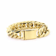 Mens Large Thick 14K Gold Plated Miami Cuban Bracelet 21mm JayZ