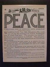 VINTAGE NEWSPAPER HEADLINE~GERMAN ARMY GERMANY SURRENDER PEACE WORLD WAR 1 WWI
