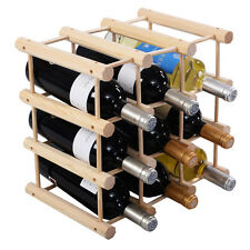 New 12 Bottle Wood Wine Rack Bottle Holder Storage Display Natural Kitchen