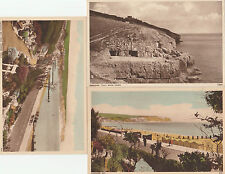 3 Postcards Swanage Bay, Tilly Whim caves. Garden Walk Early. Hand coloured