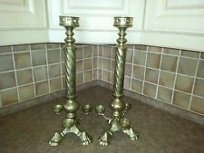 """Vintage church/catholic altar candle candlestick 21 1/4"""" solid brass gothic"""