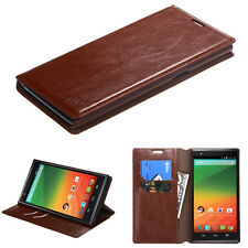 For ZTE ZMAX Z970 BROWN Book Wallet Flip Leather Pouch Phone Cover Case Strap