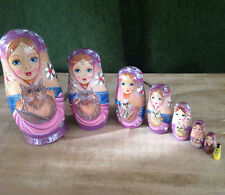 8 pc Nesting Doll Family With Cats - Matreshka Matryoshka Babushka Hand Painted