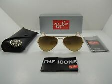 RAY-BAN AVIATOR SUNGLASSES RB3025 112/85 GOLD FRAME/BROWN GRADIENT LENS 55MM